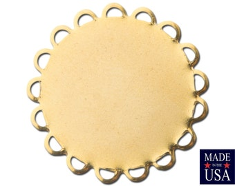 Gold Plated Lace Edge Round Flat Pad Settings 22mm (10) stn030S
