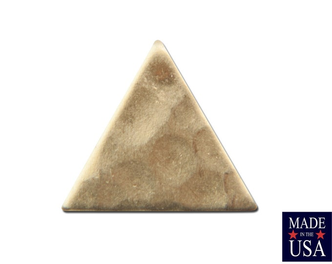 No Hole Hammered Small Raw Brass Triangle 9mm (20) mtl456A