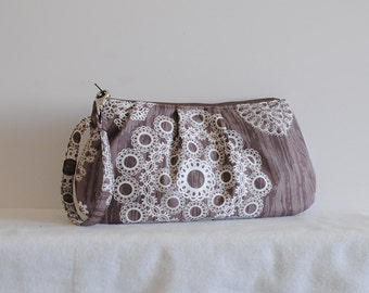 Pleated Wristlet Zipper Pouch // Clutch - Knots and Loops in Bark