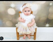 Boutique Baby Girl White and Cream Lace Tutu Dress 3M 6M 9M