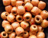 Large Wooden Beads - Set of 50 - 12mm Natural Pony Beads with Pattern, Large Hole for Macrame (WBD0050)