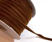 Brown Ribbon, Sienna Brown Velvet Ribbon 3/8 inch wide x 3 yards, Made in Switzerland