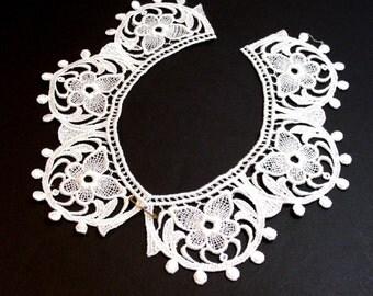Lace Collar, White Venice Lace Applique Collar Set of 2 Pieces, Lace Collar Applique