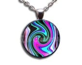 Pattern Trance - Round Glass Dome Pendant Necklace by IMCreations - PT108
