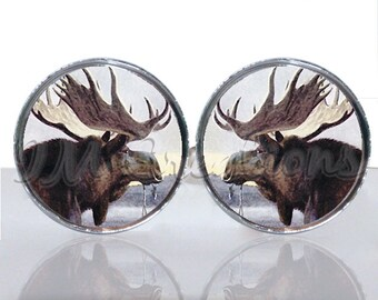 Round Glass Tile Cuff Links - Outdoor Moose CIR129