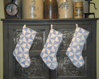 Christmas Stocking | Old Quilt Stocking | Vintage Quilt Stocking | Antique Quilt Stocking | Repurposed Old Quilt | Listing Is For 1 Stocking