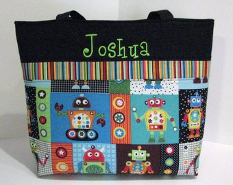 Robot Diaper Bag Tote . Regular size . Silly Robots and Lime Green . monogrammed FREE .  boy diaper bag . personalized diaper bag