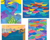 OCEAN - Collage Art Blank Notecards Package of 4 Different Boat, Fish, Ocean related Designs