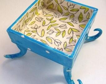 whimsical pottery Serving Bowl, kitchen decor bright blue ceramic dish w/ polka-dots, tall curly fun feet legs