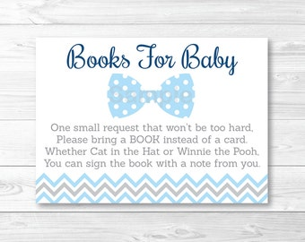 Cute Bow Tie Baby Shower Book Request Cards / Chevron Bow Tie / Baby Blue & Grey / Books For Baby / PRINTABLE INSTANT DOWNLOAD A290