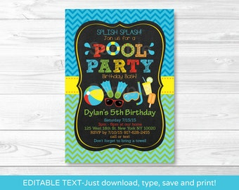 Pool Party Birthday Invitation / Pool Party Birthday Invite / Boys Pool Party / Chalkboard Invitation / INSTANT DOWNLOAD Editable PDF A333