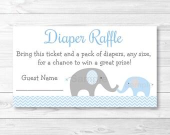 Blue Elephant Diaper Raffle Tickets INSTANT DOWNLOAD