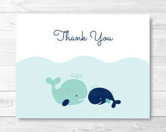 Nautical Whale Thank You Card Folded Template / Whale Baby Shower / PRINTABLE Instant Download