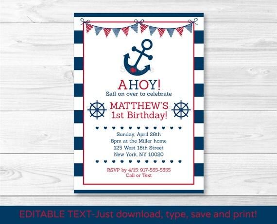 Nautical Anchor Printable Birthday Invitation Navy Blue /& Red Editable PDF