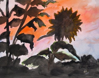 Silhouette of Sunflowers in Kansas Sky, Original watercolor painting.