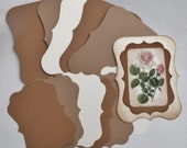 Shabby Chic Card Kit 6 Fancy Cards and 6 Mats Kraft Cream Brown Makes 6