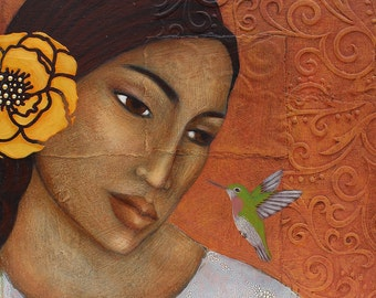 Hummingbird Portrait Print of Original Folk Art Painting by Tamara Adams