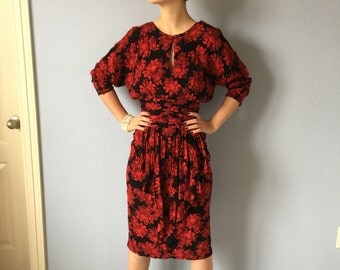 Vintage Dress - Visionz - Floral 1980s - Peplum - 1940s Style