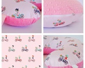 On SALE / BOPPY COVER / Zipper closure / Pink cotton print with soft minky dimples/ Pretty baby girl gift