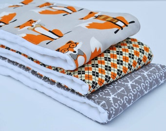 MR. FOX / Set of (3) Very ABSORBENT Burp Cloths...Coordinating fabric on 3ply cotton burp cloths...... Very handy for baby care