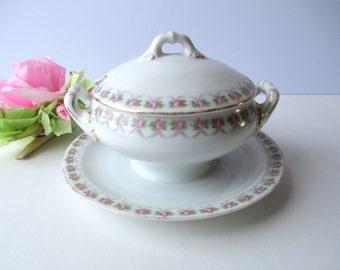 Vintage Schwarzburg Pink Rose Sugar Bowl/Gravy Boat