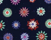 Picnic---Enamel Flowers in Navy---1 yard--Melody Miller for Cotton and Steel