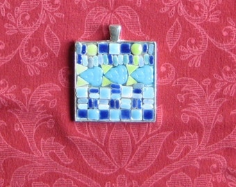 Mosaic Pendant. Spring time colors. Lake at Peace.Tiny Tiles. Blues + Greens. Three Turquoise Blue Leaves. 33 cm inside to work with. Chain.