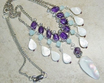 Amethyst Purple Bead & Mother of Pearl Shell Necklace, Ivory Shell Silver Chain Bib Necklace, Beach, Statement Necklace, Boho, Gift for Her