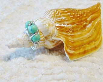 Turquoise Magnesite Silver Ring, Wire Wrapped Ring, Beaded Wire Ring, Turquoise Ring, Bead Ring, Size 7.5