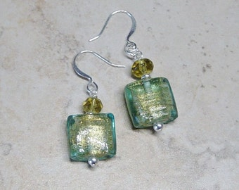 Green Lamp Work Glass Bead Earrings,Silver Beaded Earrings, Crystal Bead earrings, Green Earrings,Silver Beaded Earrings