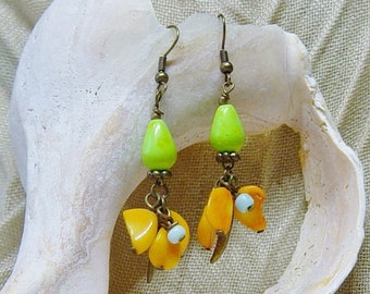 Orange Coral and Green Magnesite Antique Gold Dangle Beaded Earrings