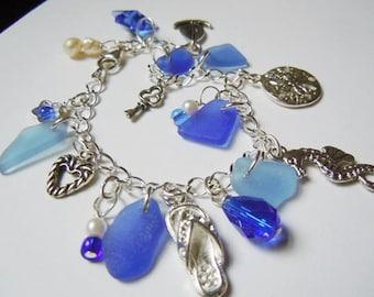 Sea Glass Bracelet, Blue Sea Beach Glass Jewelry Seaglass Charm Bracelet