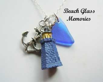 Lighthouse Necklace Sea Glass Beach Jewelry Pendant Necklace Strand Necklace