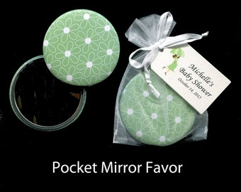 Baby Shower Favor - Pocket Mirror - Gender Nuetral Shower Favor - Party Favors - Green - Personalized - Mom To Be - Set of 20