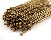 100 Antique Bronze Ball Pins Brass 2 inch (50mm), 23-24 Gauge Ball Headpin 1mm Ball - 100 pc - F4008BHP-AB2100