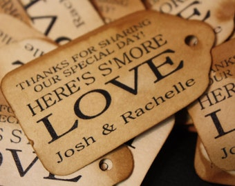 Smore Love MEDIUM Personalized Wedding Favor Tag  choose your amount