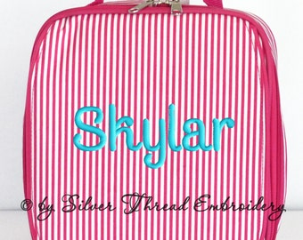 Personalized Lunch Bag Pink Pinstripe Monogrammed School Snack Box