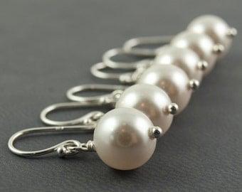White Pearl Earrings 3 Pairs Bridesmaid Earrings Swarovski White Pearl Wedding Jewelry Sets Bridesmaid Gift June Birthstone Sterling Silver