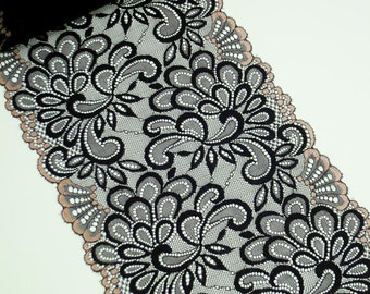 1Y Vintage Black And Champagne Gold Lace 8 Inches Wide