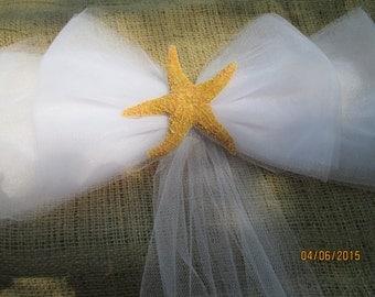 Bridal  Starfish  Tulle Pew Bows   Beach Wedding   Pew Bows   Beachie Wedding