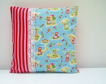 SALE! Small Nursery Pillow, Red Riding Hood Blue Fabric with Red Stripes and Lace, Cute Retro Nursery Cushion