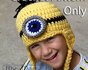Crochet PDF Pattern for Minion Ear Flap Hat in sizes Newborn Baby Toddler Child Teen Adult and XL Adult Hat Pattern