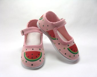 Watermelon Shoes, Pink Mary Jane's, Watermelon Birthday Party Outfit, Hand Painted for Babies and Toddlers