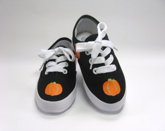 Pumpkin Shoes, Thanksgiving Sneakers, Autumn or Fall Harvest Theme, Halloween Pumpkin Outfit, Hand Painted for Baby or Toddler