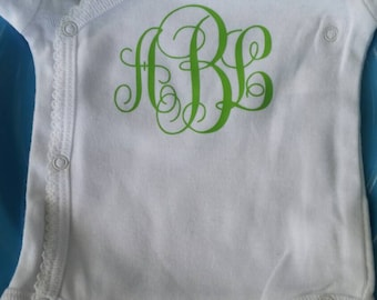 Custom monogram onesie baby shower new mommy newborn initials