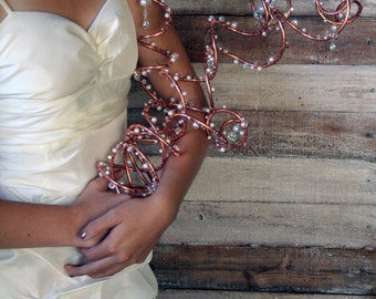 Copper, Crystal and Pearl Alternative Wedding Bouquet: A Side-held Arrangement