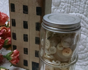 Glass Jar with Mother of Pearl Buttons