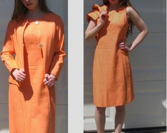 Vintage 60s Dress with Jacket / Tangerine Irish Linen Jacket Dress