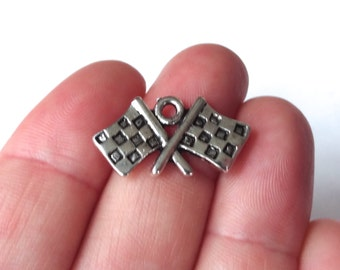 50 BULK, Checkered Flag Racing Charms 23x12x1.8mm ITEM:AS2
