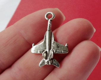 8, Fighter Jet Charms (3D) 29x18x5mm